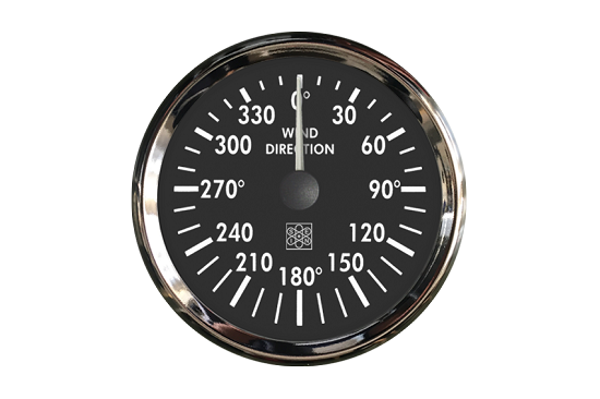 Wind direction indicator CHROME type black dial