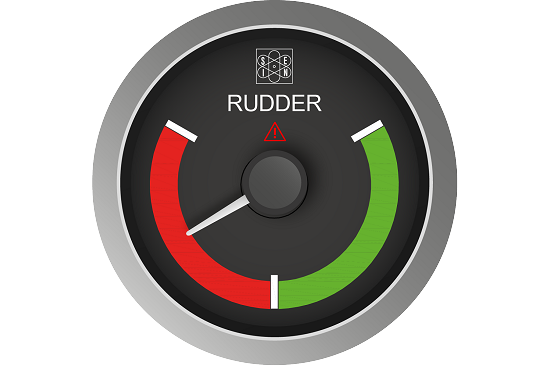 Rudder indicator with removable aluminum bezel