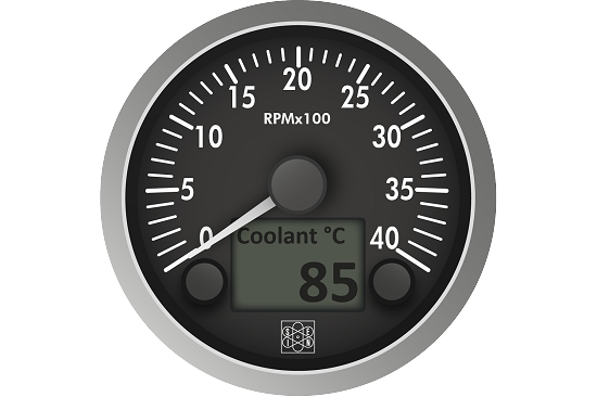 Tachometer with removable satinized aluminum bezel